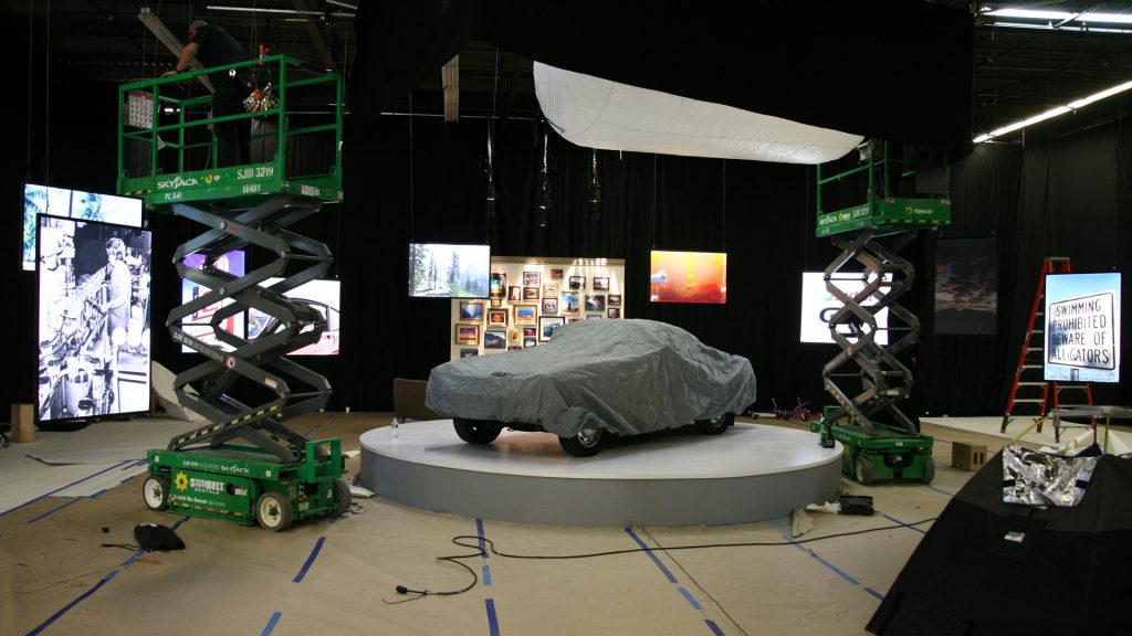 Behind the scenes image of the New York City studio under construction