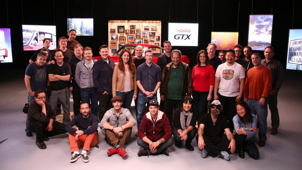 A group shot of crew members in the New York studio