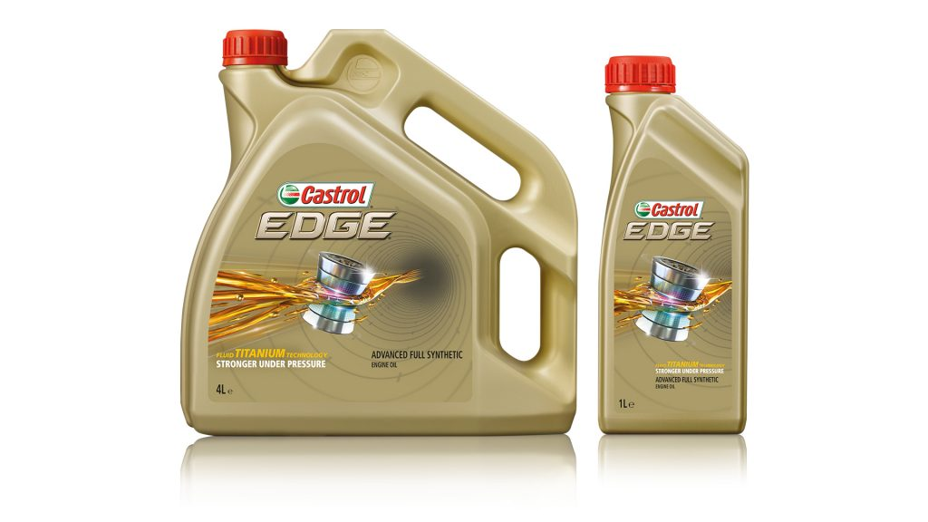 Two bottles of Castrol EDGE featuring an 'Oil in Action' ident