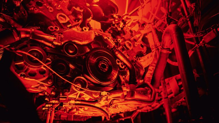 An image of our supercar engine, glowing red, as it is tested to the limit