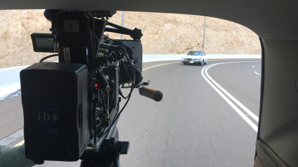 A behind-the-scenes shot out of our tracking vehicle filming Tariq and Irv's roadtrip