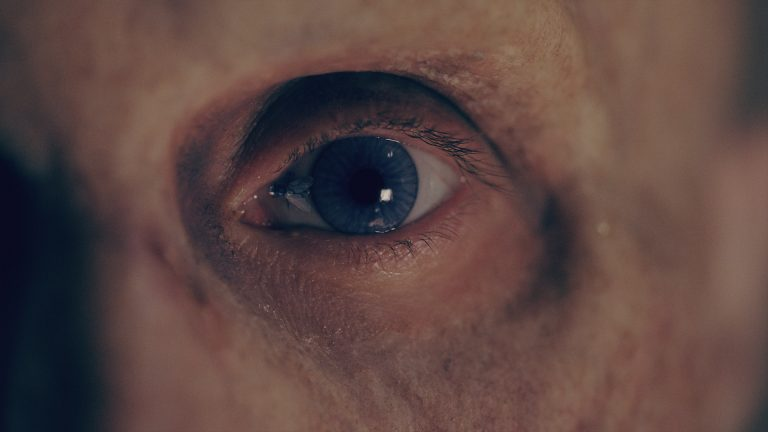A VFX scene with a fly on a man's eyeball