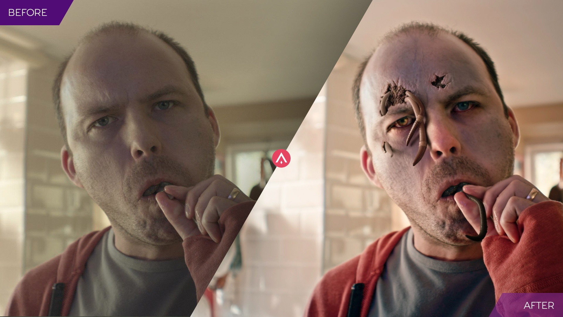 'Before and After' visual effects image of a zombie with worms coming out of his forehead and mouth