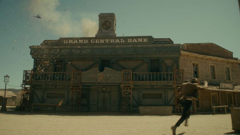 Doctor Who visual effects shot of 'Grand Central Bank' in an old western town