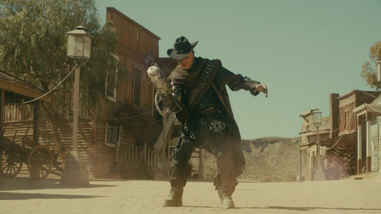 Doctor Who visual effects shot of villain with blaster gun in an old western town