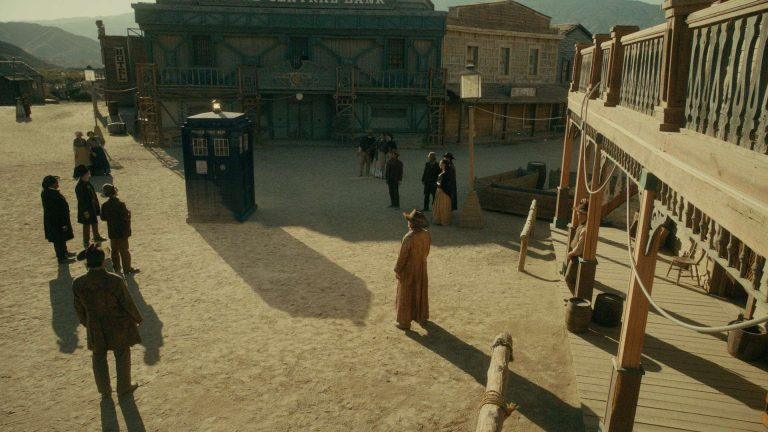 Doctor Who visual effects shot of TARDIS in the centre of an old western town