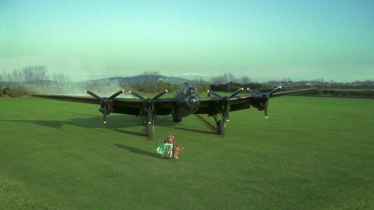 Doctor Who visual effects shot of Lancaster Bomber