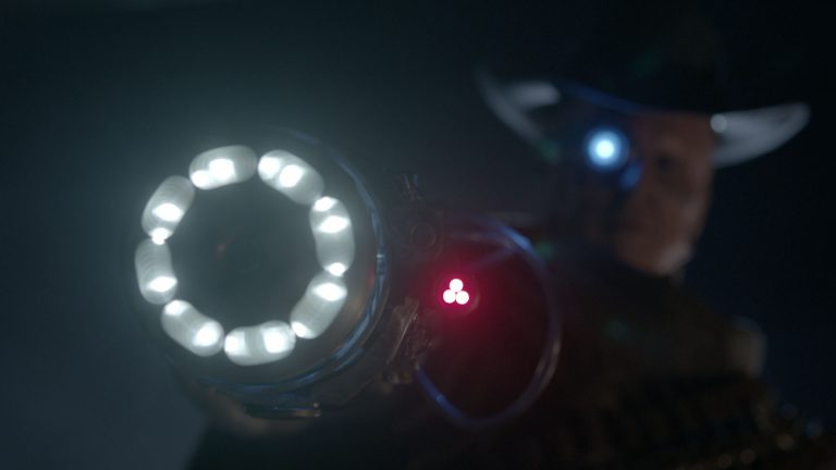 Doctor Who visual effects shot of villain with 'blaster' gun