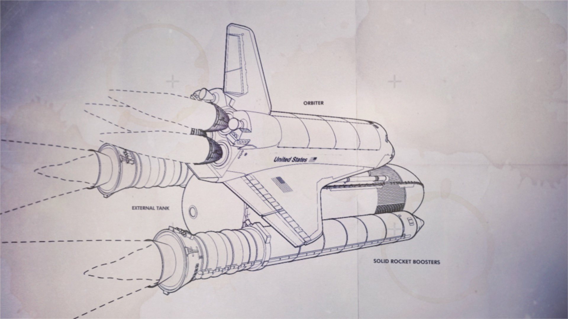 A line drawing illustration of the Space Shuttle