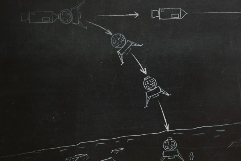 Chalkboard-style illustration to show a lunar landing vehicle