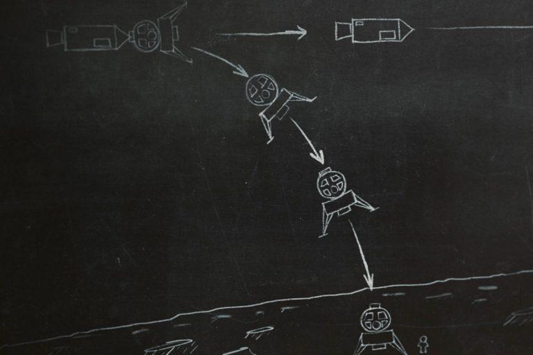 Chalkboard-style illustration to show a lunar landing vehicle