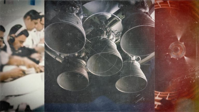 A screenshot from the Engineering Space documentary title sequence