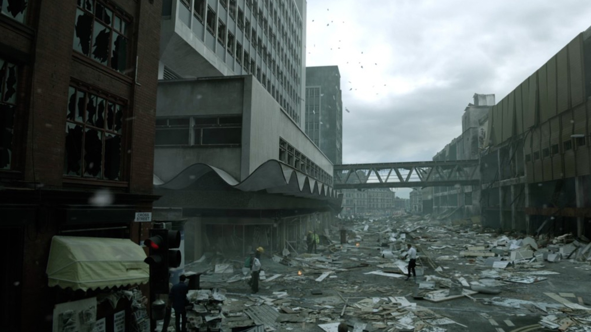 'From There to Here' visual effects shot of the aftermath of a bomb explosion in Manchester City Centre