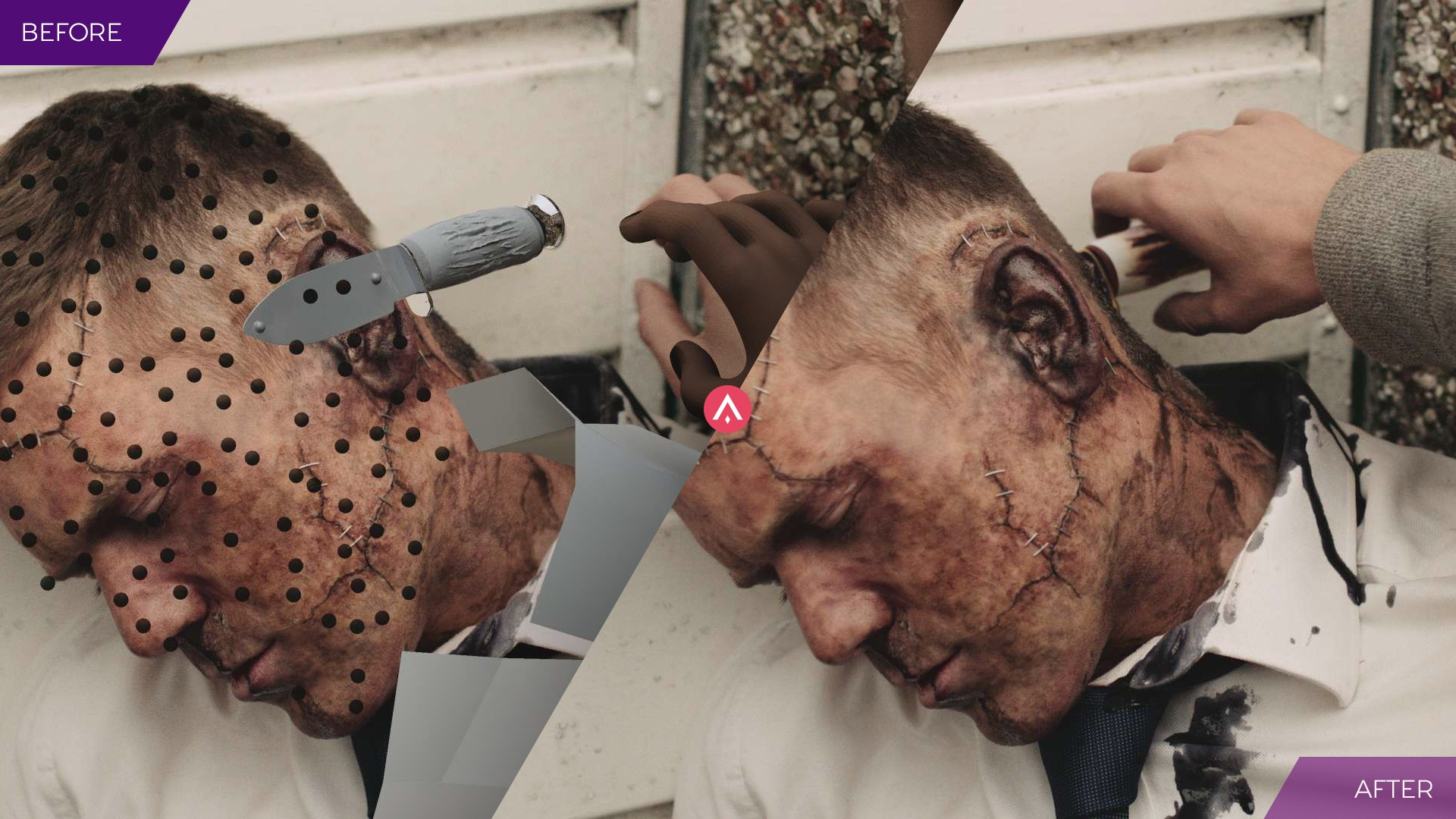 Before and After shot to demonstrate visual effects used on 'In the Flesh'