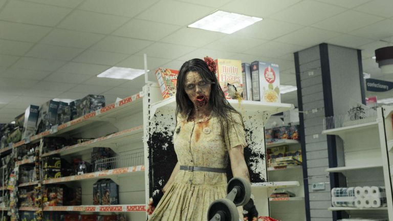 'In the flesh' visual effects shot of a zombie female in a supermarket