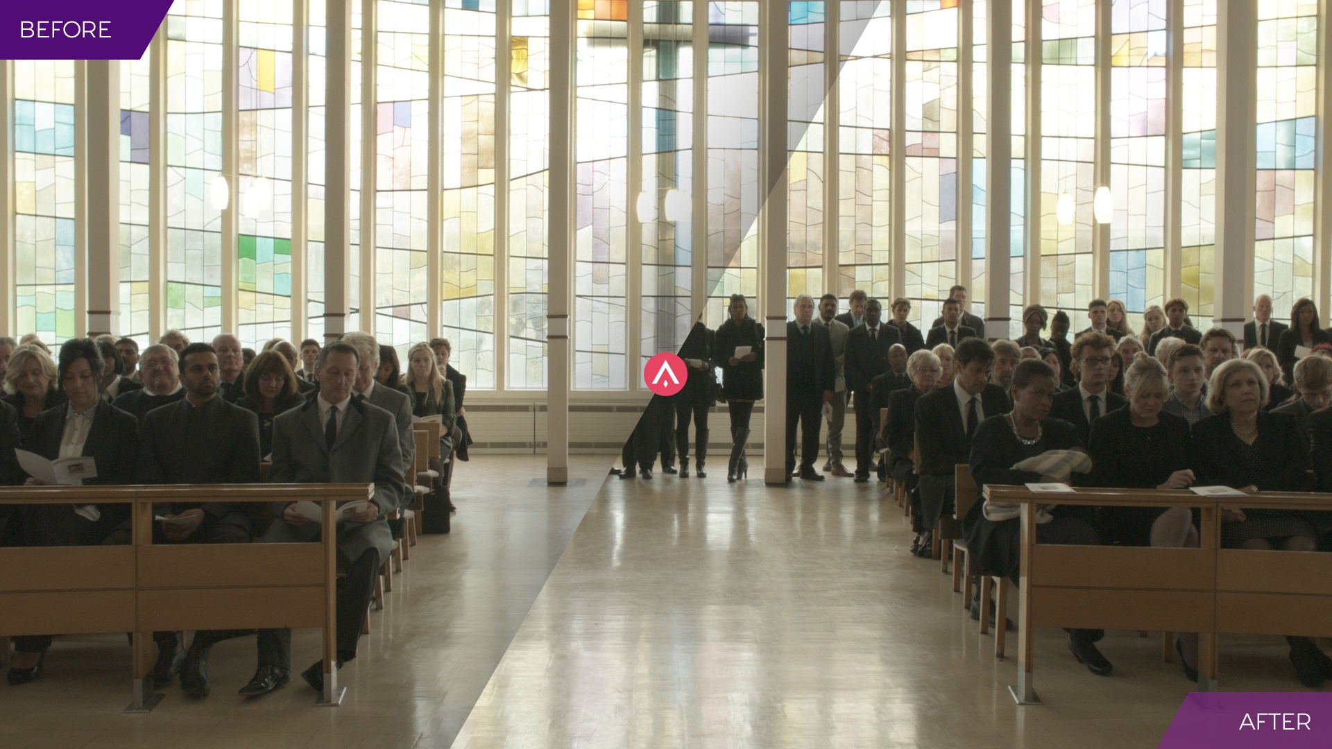 'Before and After' image of crowd replication effects applied to a church service scene