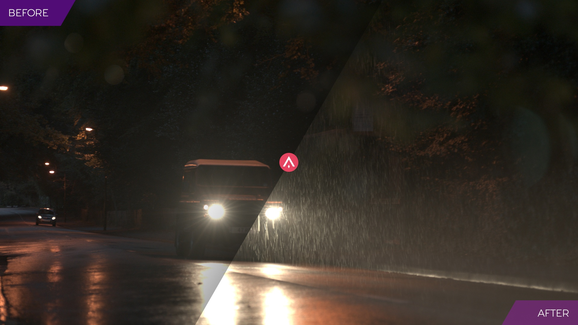 'Before and After' image of rain visual effects applied to a driving scene