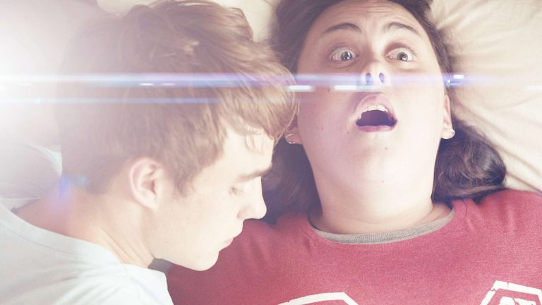 My Mad Fat Diary visual effects shot of a two teenagers laid on a bed