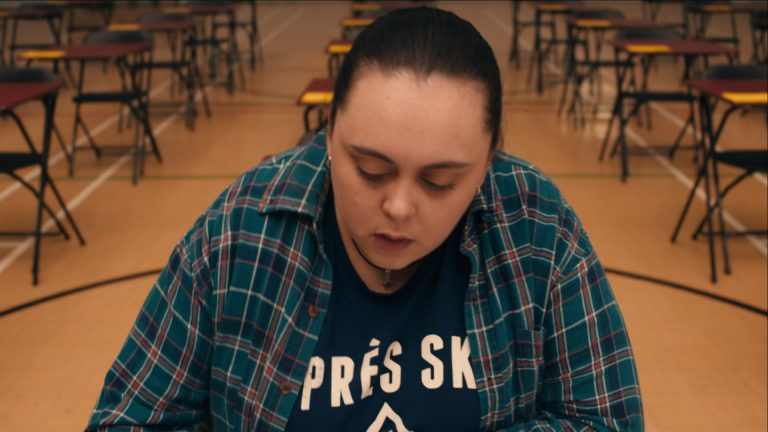 My Mad Fat Diary visual effects shot of a girl in an exam hall