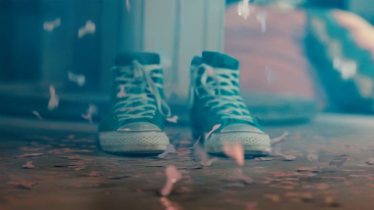 My Mad Fat Diary visual effects shot of some empty trainers, following the 'explosion' of their owner