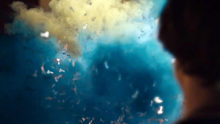 My Mad Fat Diary visual effects shot of a colourful powder explosion