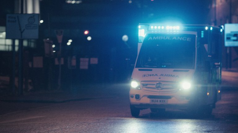 Mercedes-Benz Van ambulance with lights and sirens from the recent TVC