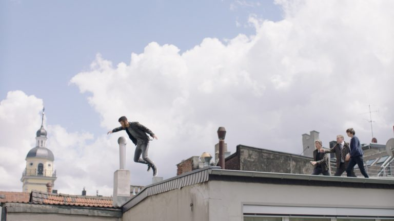 'Paranoid' visual effects shot of boy jumping off building roof