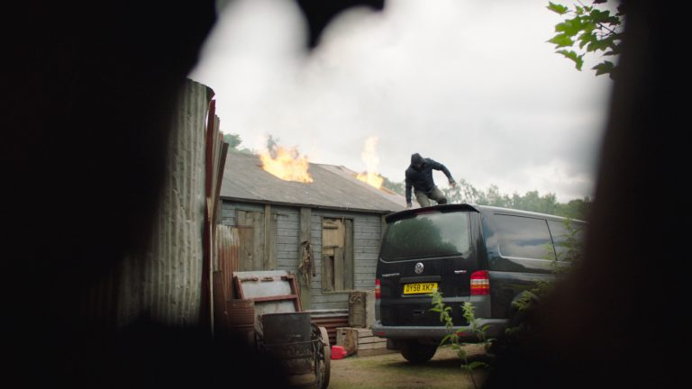'Paranoid' visual effects shot of a fire in a shed-type building