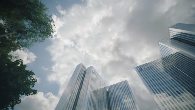 'Paranoid' visual effects shot of two corporate skyscrapers