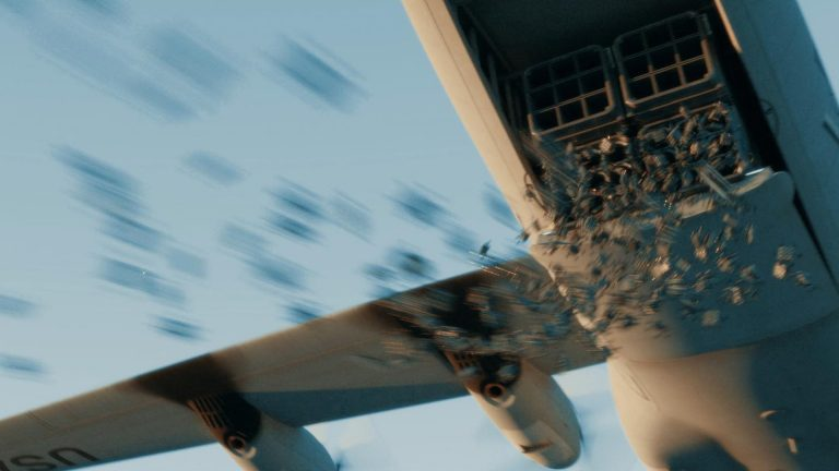 Autonomous weaponised drones being released from a military aircraft in the Slaughterbots film.
