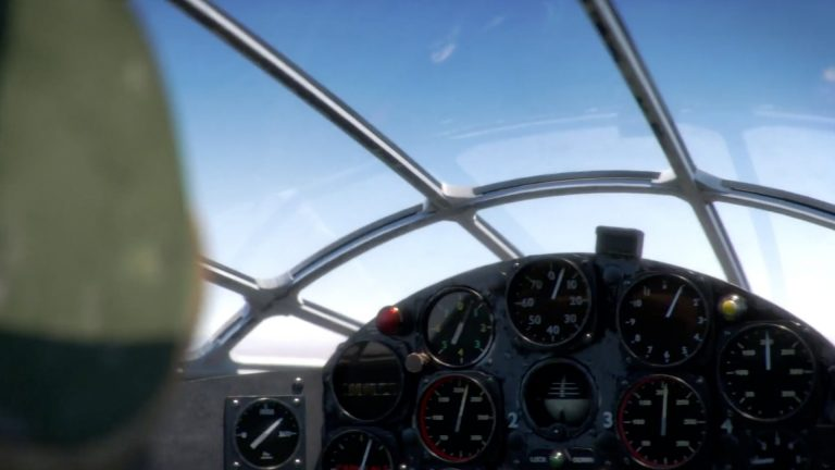 A shot from the inside of an aircraft cockpit