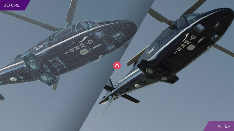 'Before and After' image to demonstrate the creation of a CGI helicopter