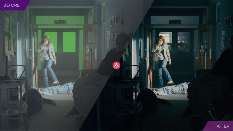 'Before and After' image of a hospital corridor using green screen