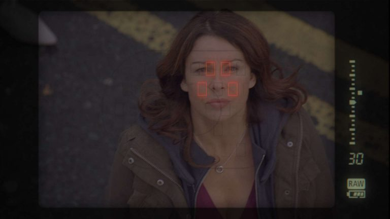 'Survivors' visual effects shot of a lady being identified by imaging technology from a helicopter