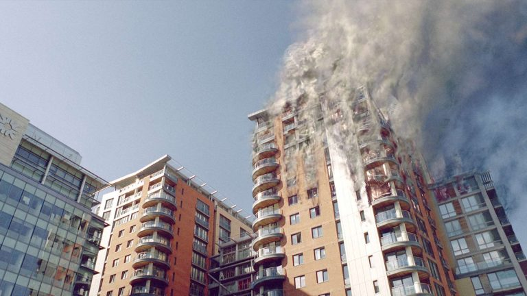 'Survivors' visual effects shot of an apartment block fire