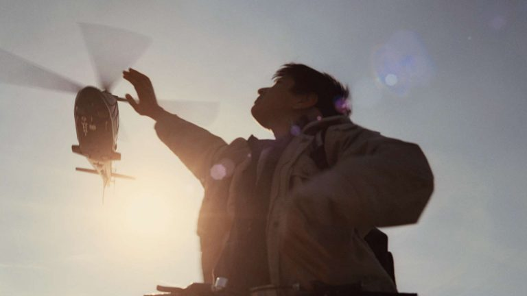 'Survivors' visual effects shot of a boy waving to a CGI helicopter
