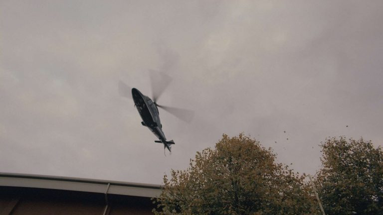 'Survivors' visual effects shot of a CGI helicopter