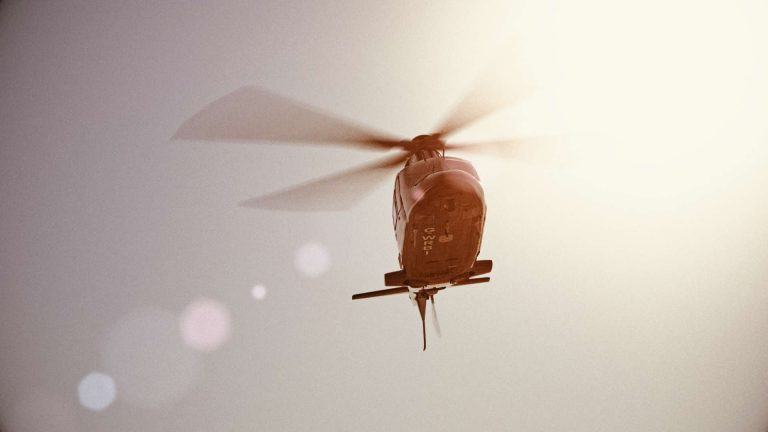 Image of a photo-realistic render of CGI helicopter used in 'Survivors' drama