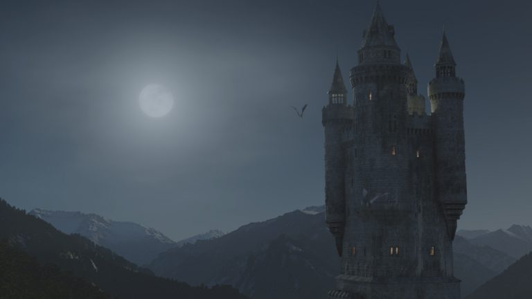 Young Dracula castle at night with a full moon