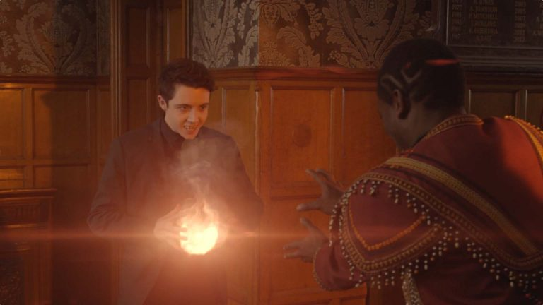 Young Dracula visual effects shot of a boy holding a ball of fire