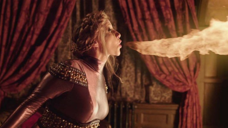 Young Dracula visual effects shot of a female breathing fire
