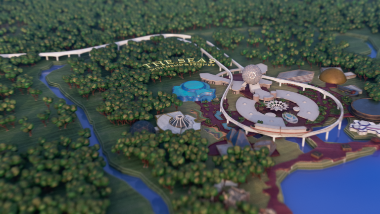 A 3D map showing an aerial view of EPCOT at Walt Disney World Resort, Florida