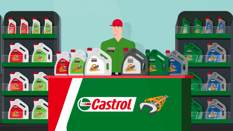 A 2D mechanic character stood behind a Castrol branded workshop counter